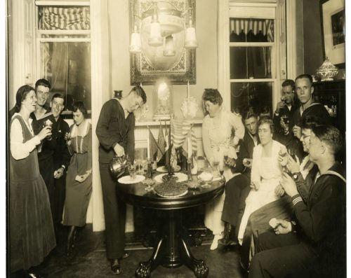 Image of Alice Foote MacDougal Entertaining a Group of Sailors from NYHS Collections